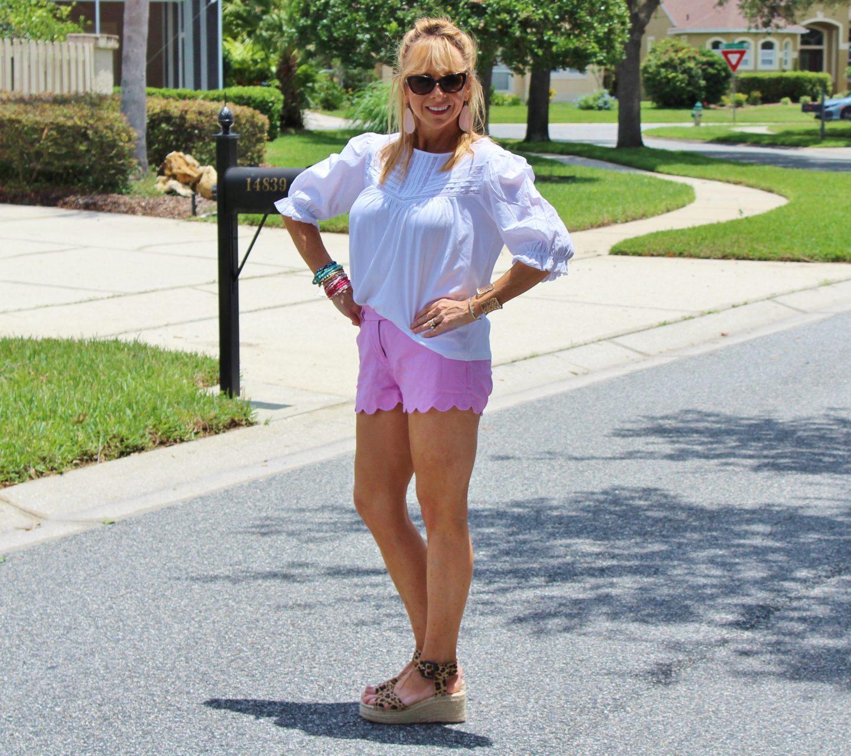 Pink shorts + white top + Leopard espradrilles