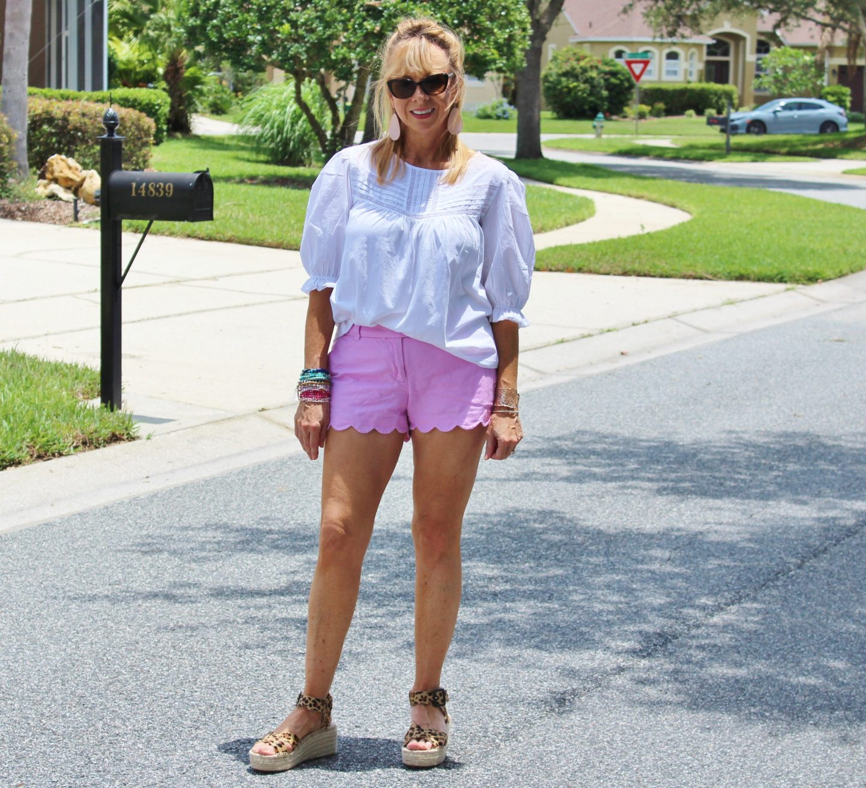 White Top + Pink Shorts + Leopard Espradrilles