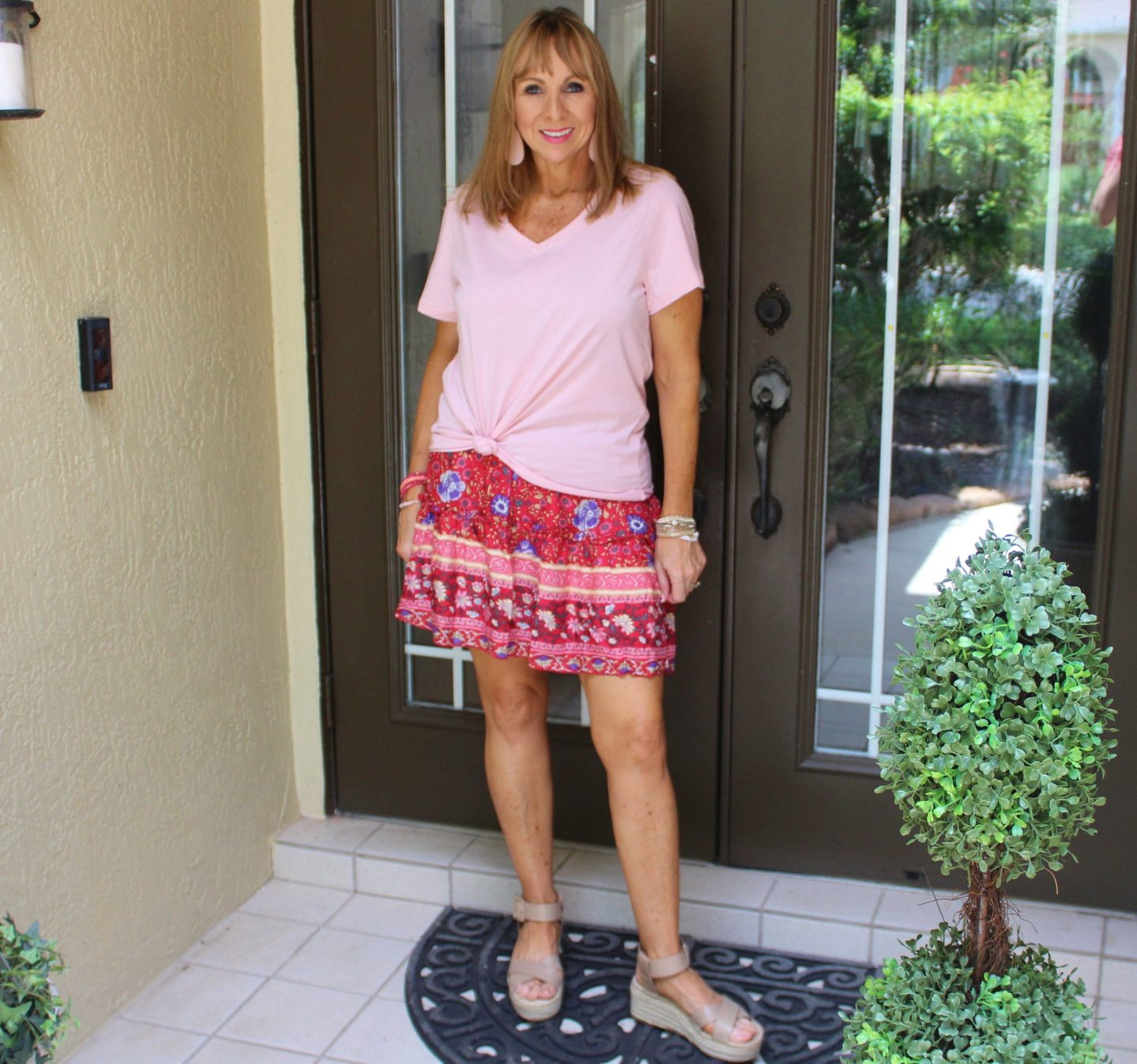 Printed short skirt + blush tee