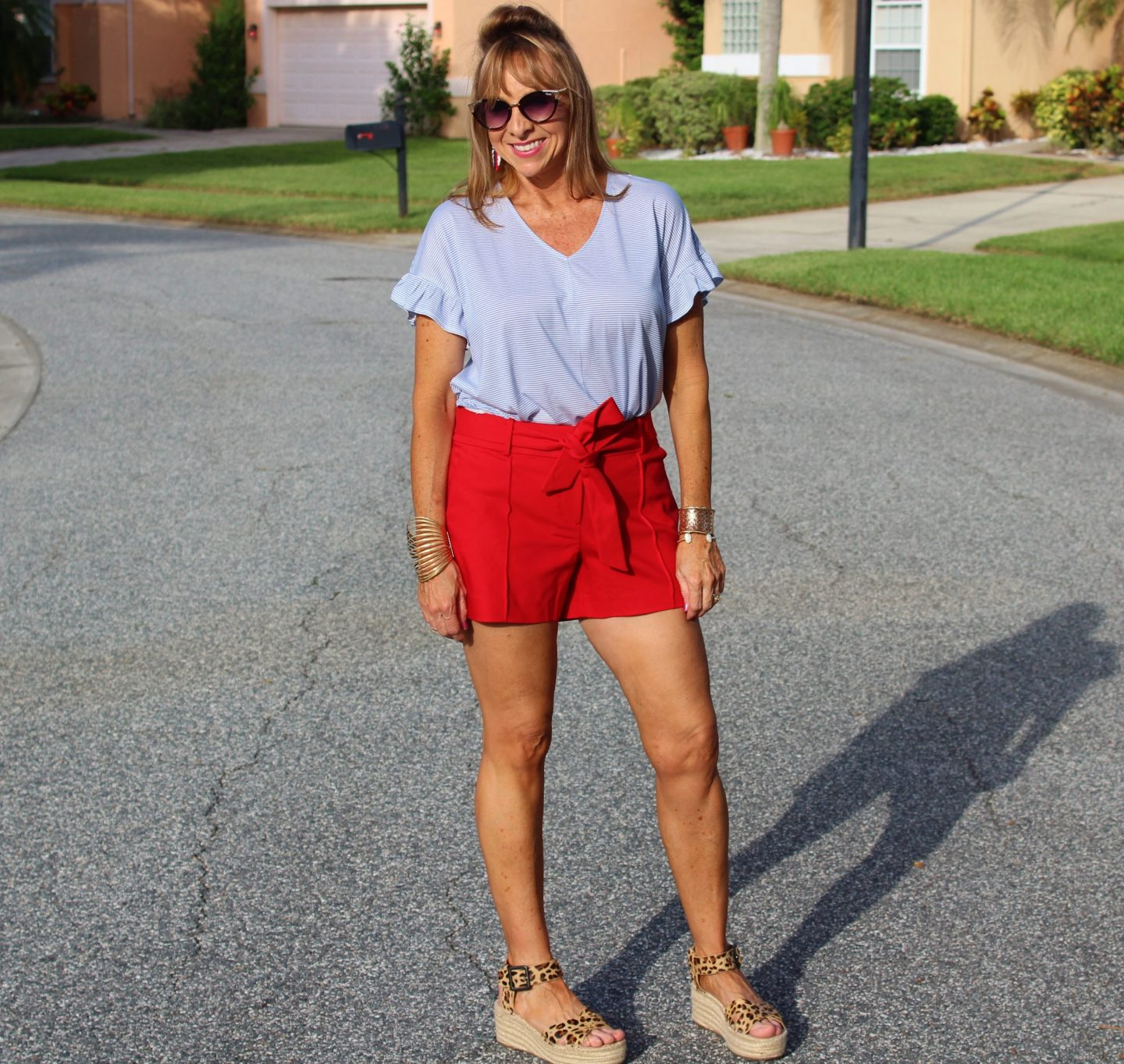 Red Shorts + Blue Striped Tee + Leopard Espadrilles