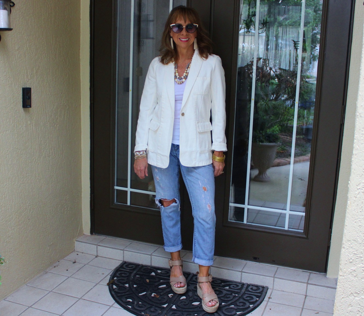 White Blazer + Distressed Denim