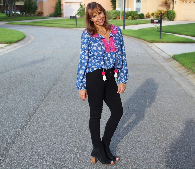 Black Skinny Jeans + Peasant top