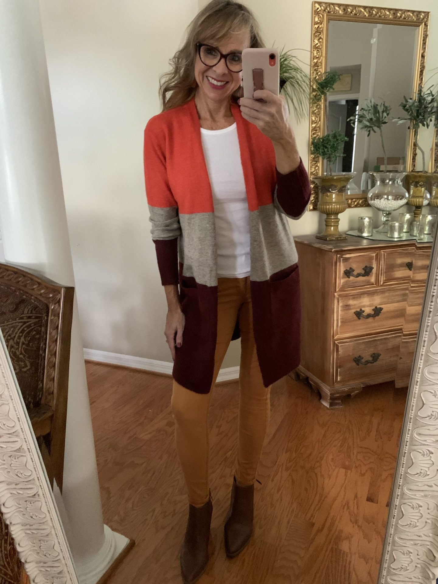 Colorblock Cardi + Colored Skinnies