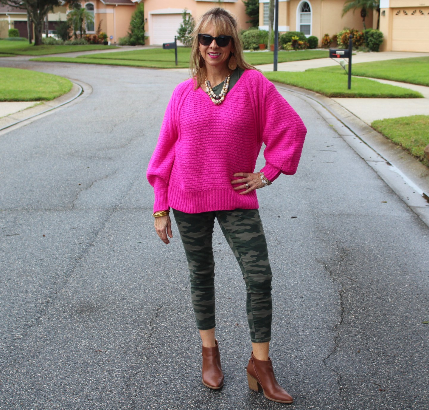 hot pink balloon sleeve Target sweater + camo pants