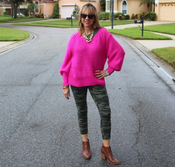 hot pink balloon sleeve Target sweater + camo pants