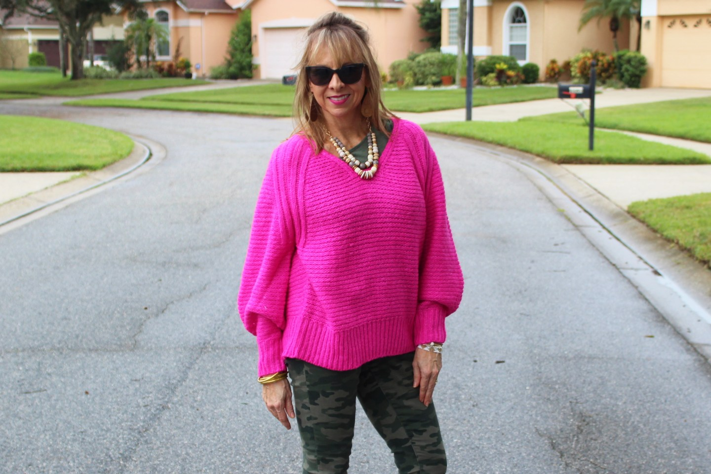 Hot Pink Balloon Sleeve Sweater with Camo Pants