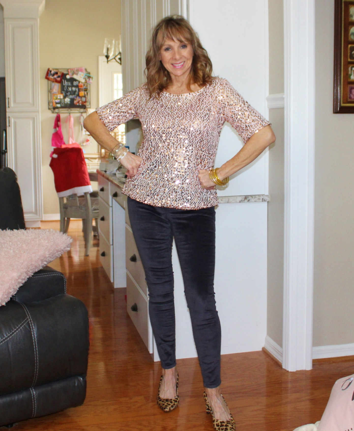 Sequin Top + Velvet Jeans