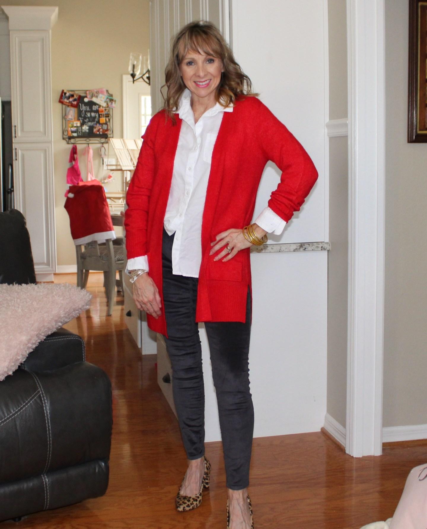Red Cardigan + Velvet Jeans