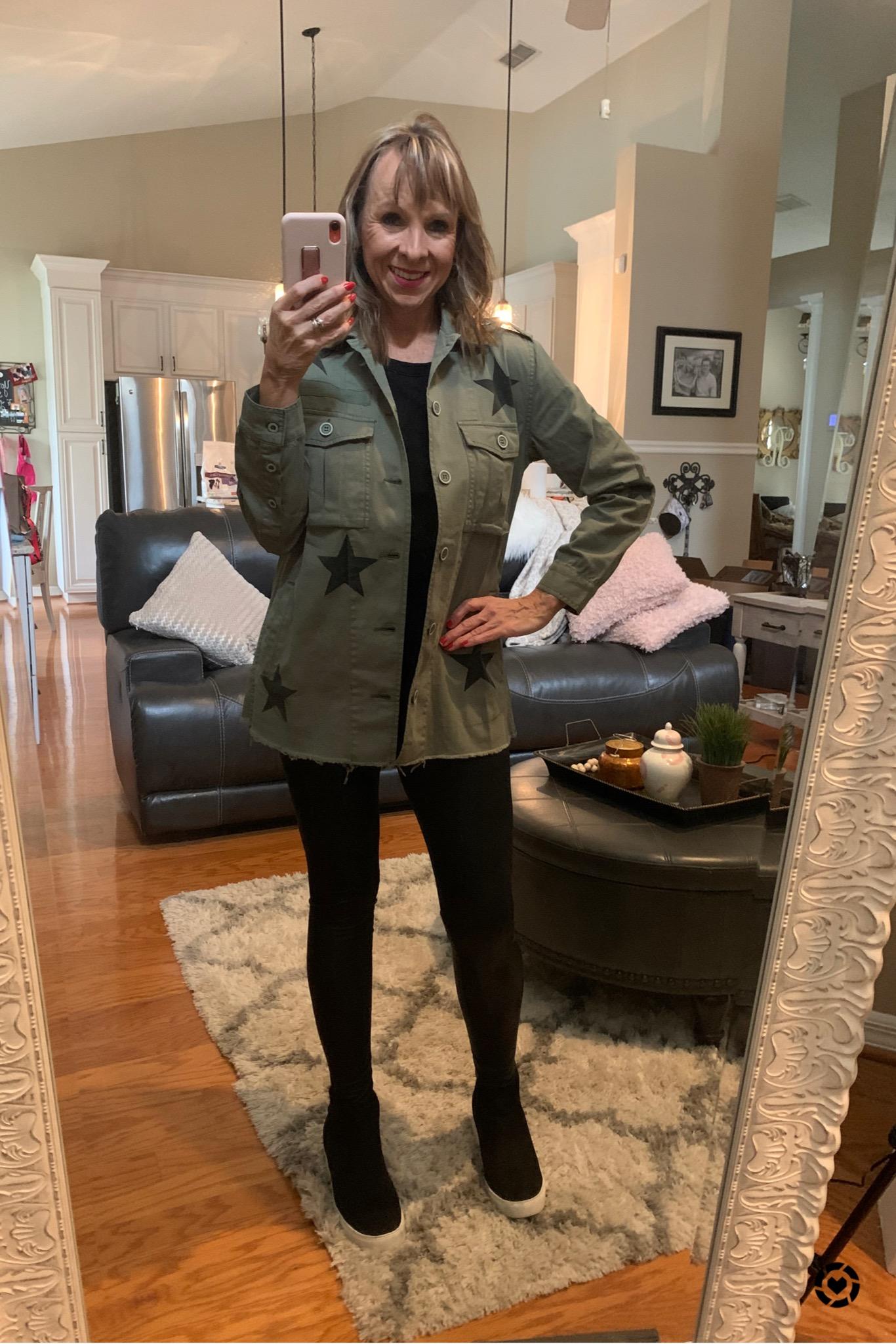 Utility Jacket + Faux Leather Leggings
