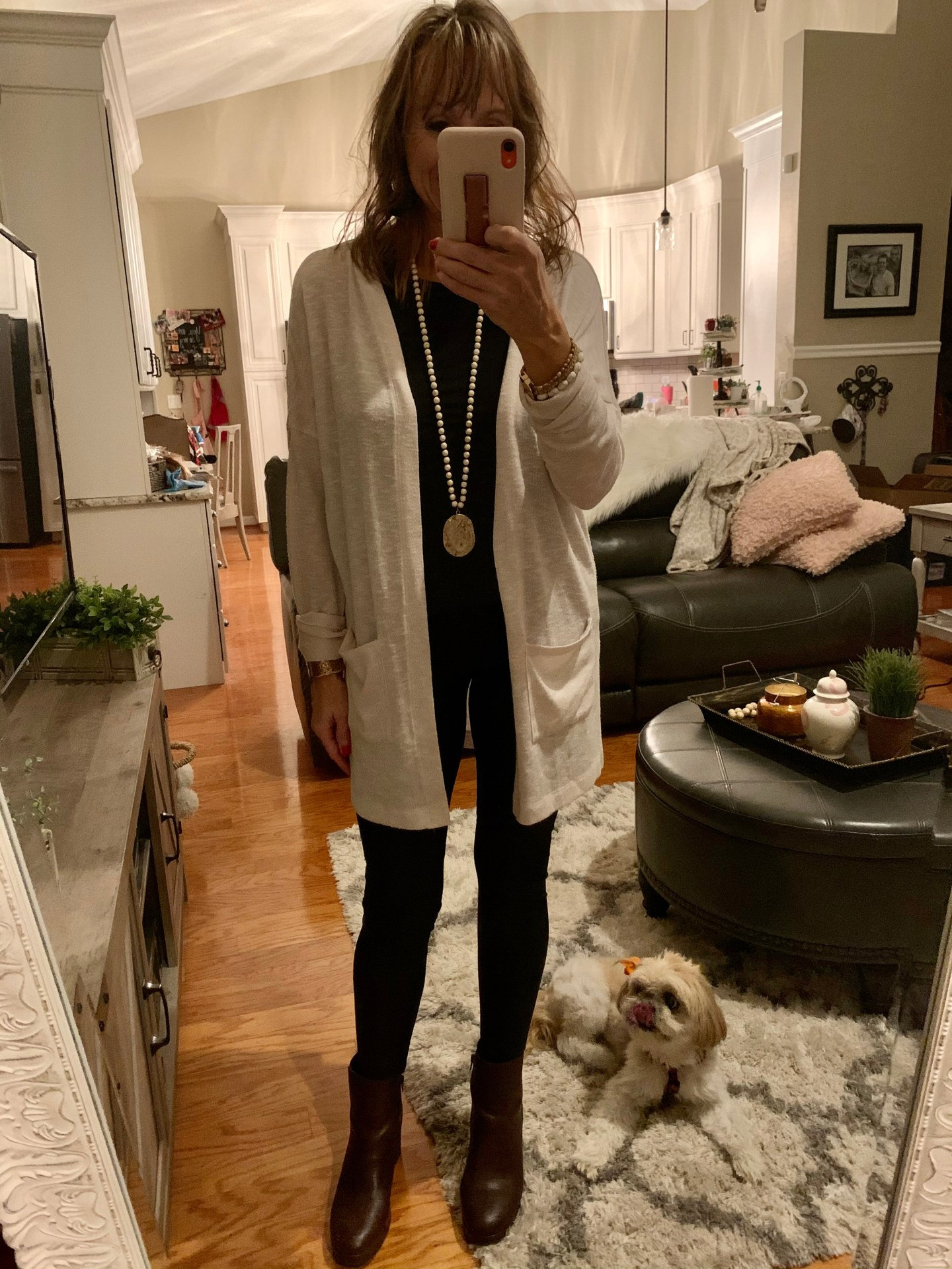Long Cardigan + Faux Leather Leggings