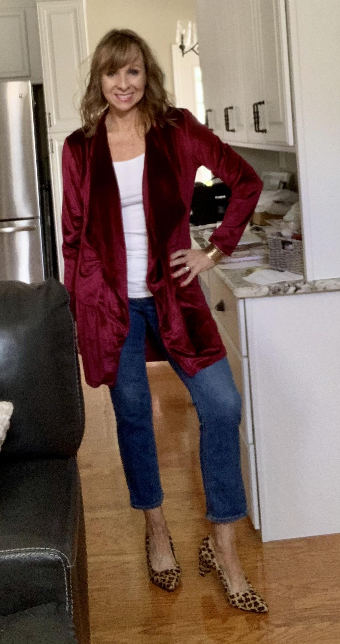 Velvet Cardigan + Jeans + Leopard Pumps