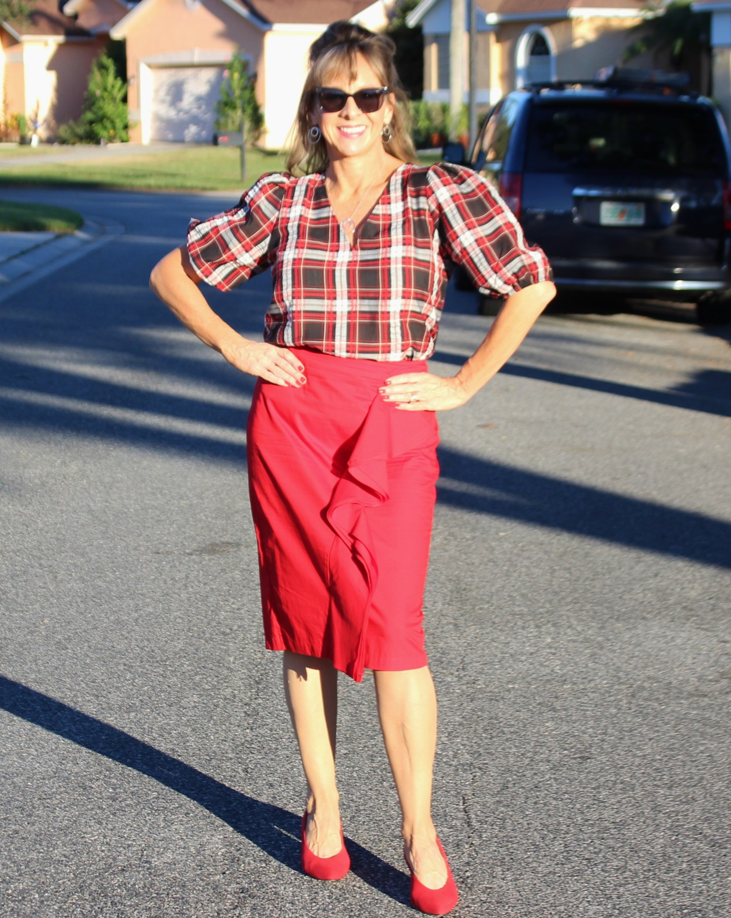 Plaid Puff Sleeve Blouse + Red Skirt + Red Pumps