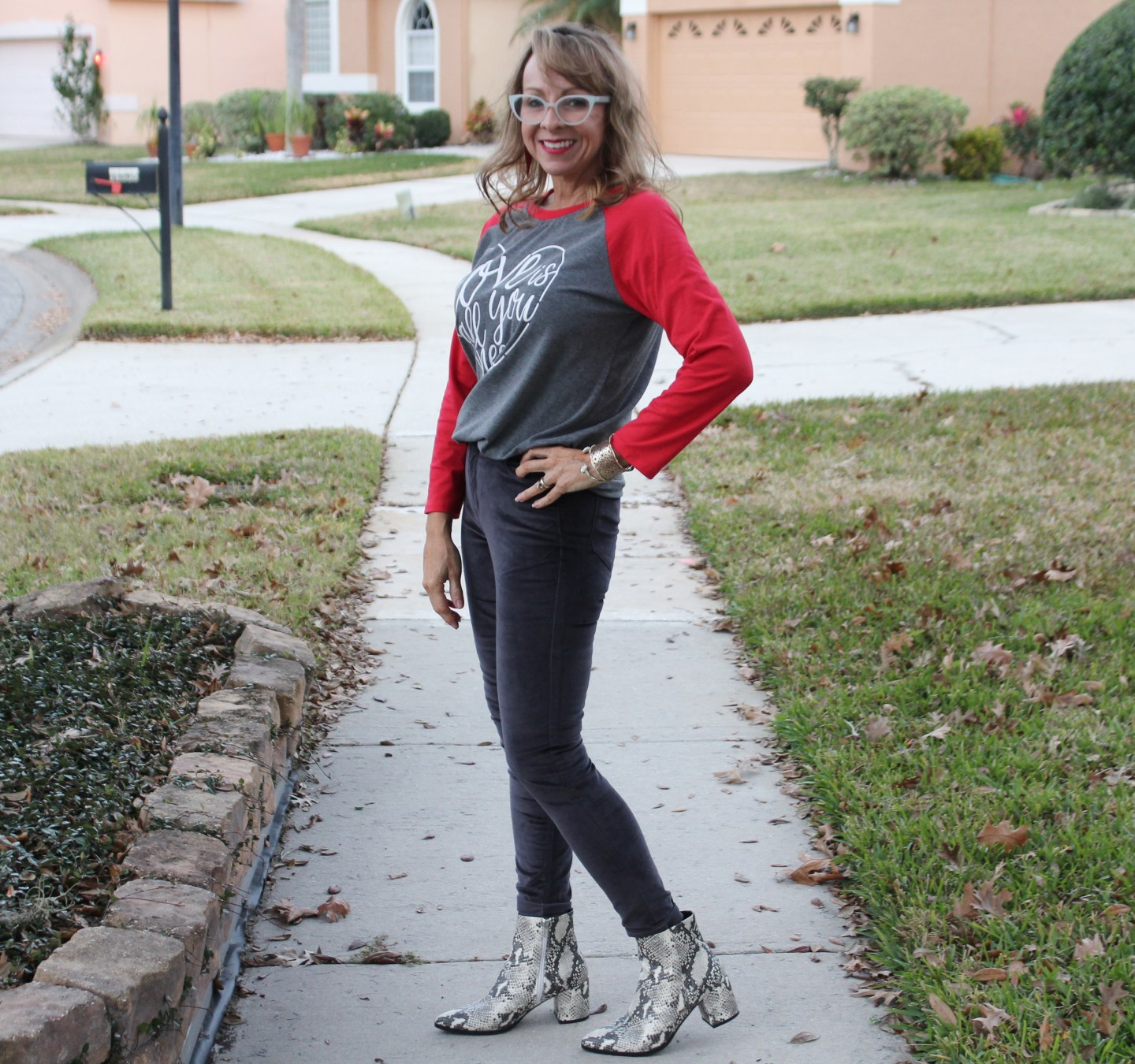 Valentine's T-shirt + Grey Jeans + Snakeskin Booties