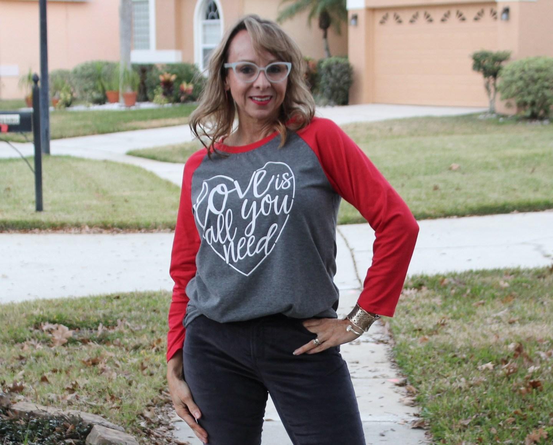 Valentine's T-shirt + Grey Jeans