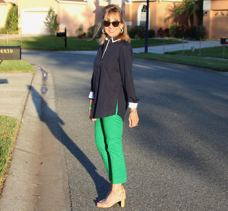 Chicos No-Iron Blue Shirt + Green Pants + Sarah Flint Perfect Sandals