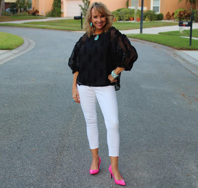 Black puff sleeve top + White Denim + Pink Pumps
