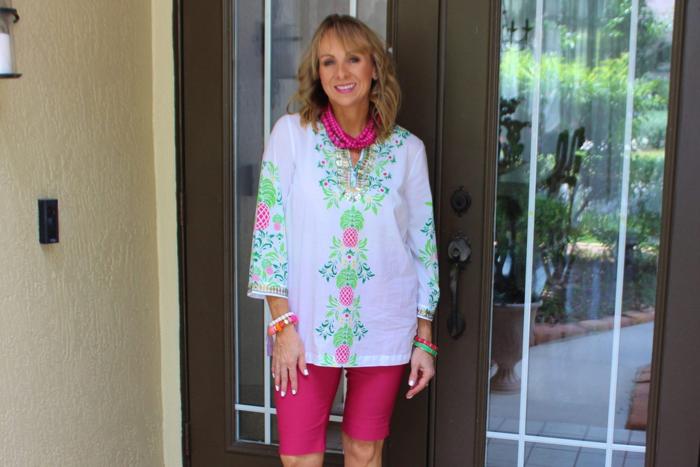 Pink and Green Tunic + Chico's Shorts
