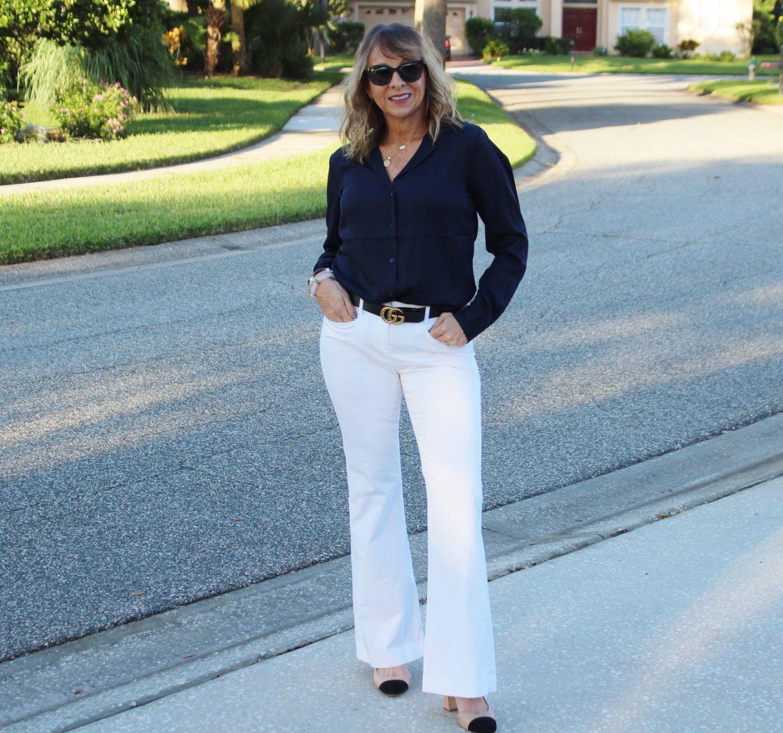 Silk Blouse + White Trousers #falloutfitideas #workwear