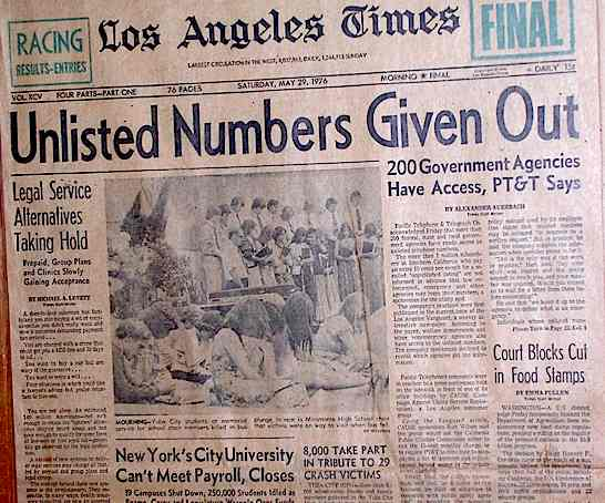 The May 29, 1976 front page of the LA Times, picking up a scoop from a local leftist weekly
