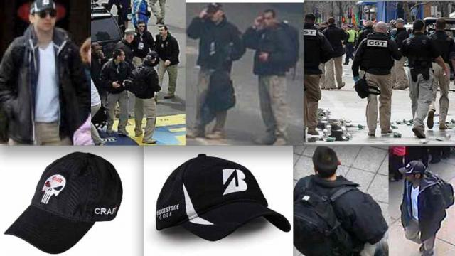 The resemblance of the coat, pants, hats and even backpacks between Tarmelan Tsarnaev (left top and far lower right)