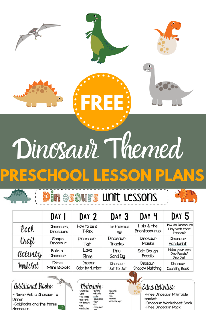 FREE WEEK LONG DINOSAUR THEMED PRESCHOOL LESSON PLANS - This Crafty Mom