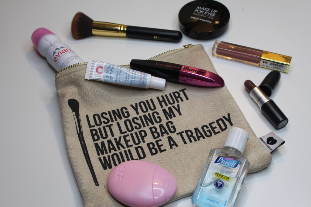 makeup bag, whats in my bag, makeup, beauty products, Makeup Forever, Purell, EOS, Evian Facial Spray, BH Cosmetics brushes, MAC, Stone Lipstick, Milani Lip Gloss, First Aid Beauty, Miss Manga, Sephora, Breakups to makeup