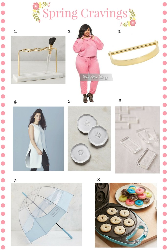 Spring Cravings, favorite things, Makeup Brush holder, Jogger set, Chic and Curvy, Sole Society, Simply Be, Tunic, Monogram coasters, Clear Dominos, Hunter bubble umbrella, Mini Donut maker, gold bangle, lifestyle blog