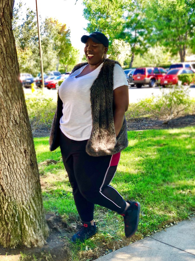 Perfection, Outfit of the Day, Plus Size, Fashion, Lane Bryant, Nike, Target Style, Ava and Viv, Joggers, Faux Fur, Style, Street Style, Tomboy Style