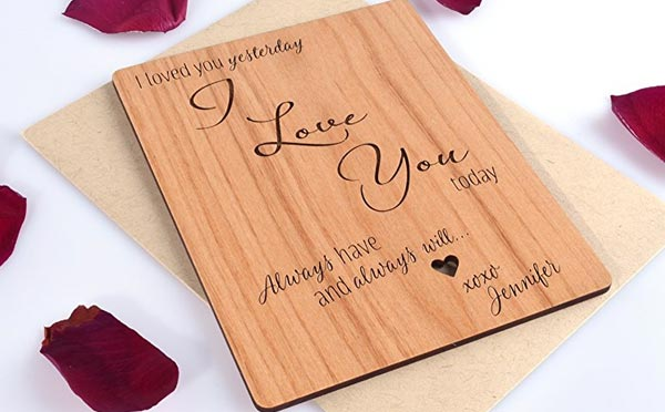 romantic birthday gifts for husband wooded card