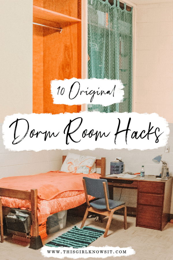 Heading back to school and looking for some dorm room hacks to save you money and make living on campus a bit easier? Then check out this post from This Girl Knows It! | #college #university #dorm #apartment | www.thisgirlknowsit.com | This Girl Knows It