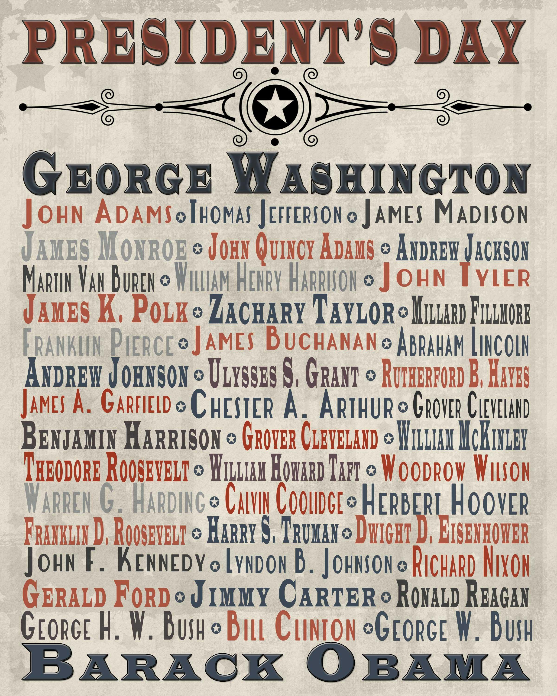 President S Day Free Printable