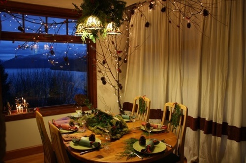 woodland tablescape in evening