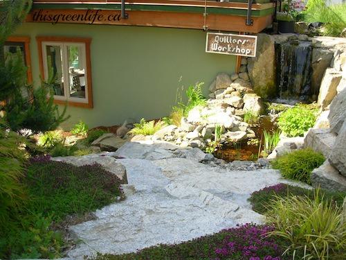studio with waterfall