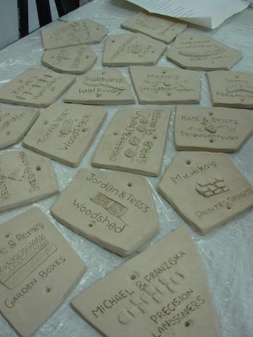 WWOOFer tiles greenware