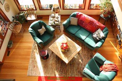 living room with Santa photos