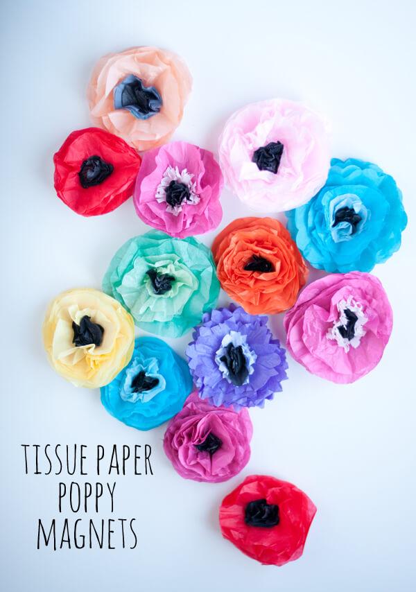 Tissue Flower Magnets 15