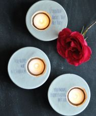 Plaster Votives with Love Quotes