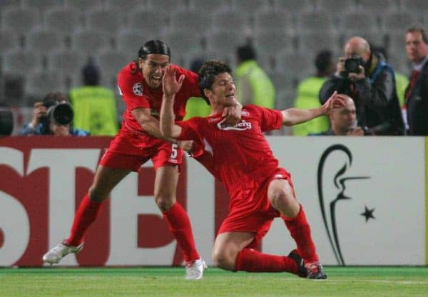 ISTANBUL, TURKEY - WEDNESDAY, MAY 25th, 2005: Liverpool's Xabi Alonso celebrates scoring the equaliser from the re-bounded penalty kick with Milan Baros (L) during the UEFA Champions League Final at the Ataturk Olympic Stadium, Istanbul. (Pic by David Rawcliffe/Propaganda)
