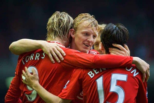 LIVERPOOL, ENGLAND - Saturday, September 26, 2009: Liverpool's Fernando Torres celebrates completing his hat-trick, scoring his side's third goal, against Hull City with team-mates Dirk Kuyt and Yossi Benayoun during the Premiership match at Anfield. (Photo by: David Rawcliffe/Propaganda)