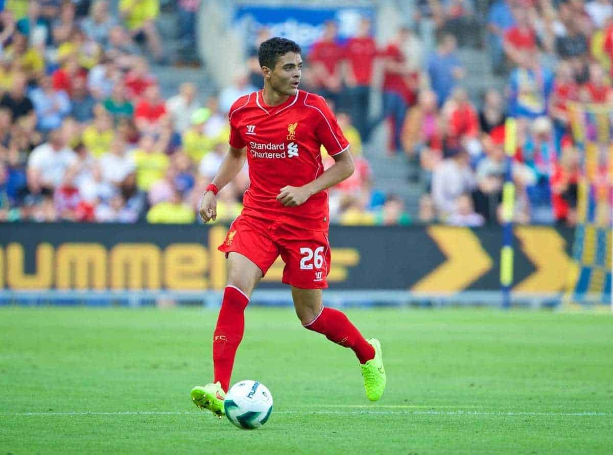 COPENHAGEN, DENMARK - Wednesday, July 16, 2014: Liverpool's Tiago Ilori in action against Brondby IF during a preseason friendly match at Brøndby Stadion. (Pic by David Rawcliffe/Propaganda)