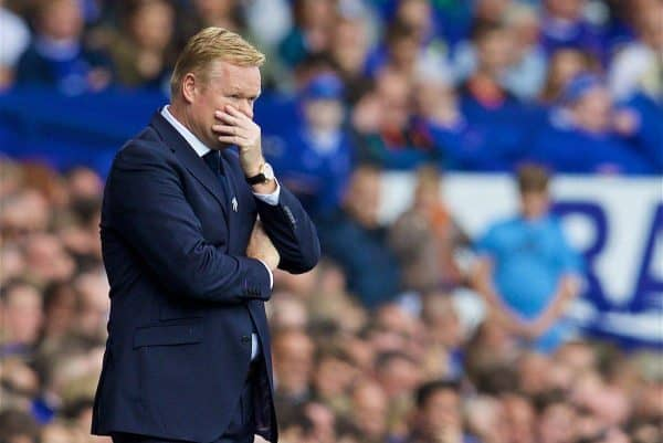 LIVERPOOL, ENGLAND - Saturday, August 13, 2016: Everton's manager Ronald Koeman during the FA Premier League match against Tottenham Hotspur at Goodison Park. (Pic by David Rawcliffe/Propaganda)