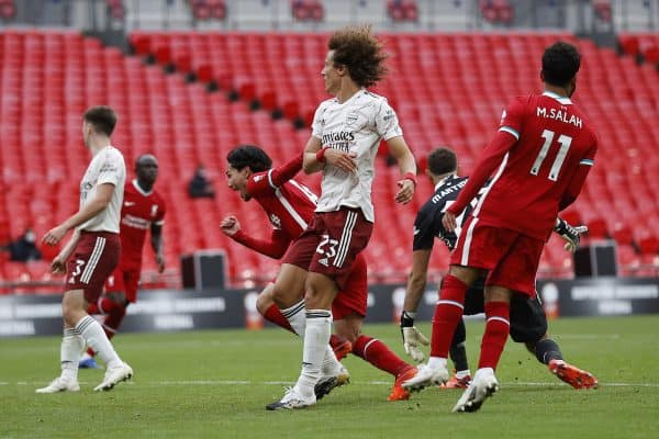 LONDON, ENGLAND - Saturday, August 29, 2020: Liverpool's Takumi Minamino celebrates after scoring an equalising goal to level the score at 1-1, his first goal for the club, during the FA Community Shield match between FA Premier League Champions Liverpool FC and FA Cup Winners Arsenal FC. The game was played behind closed doors. (Credit: Eddie Keogh/The FA)