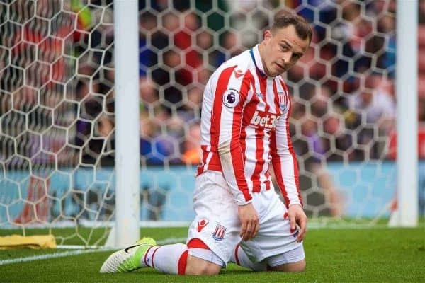 STOKE-ON-TRENT, ENGLAND - Saturday, April 29, 2017: Stoke City's Xherdan Shaqiri looks dejected after missing a chance against West Ham United during the FA Premier League match at the Bet365 Stadium. (Pic by David Rawcliffe/Propaganda)