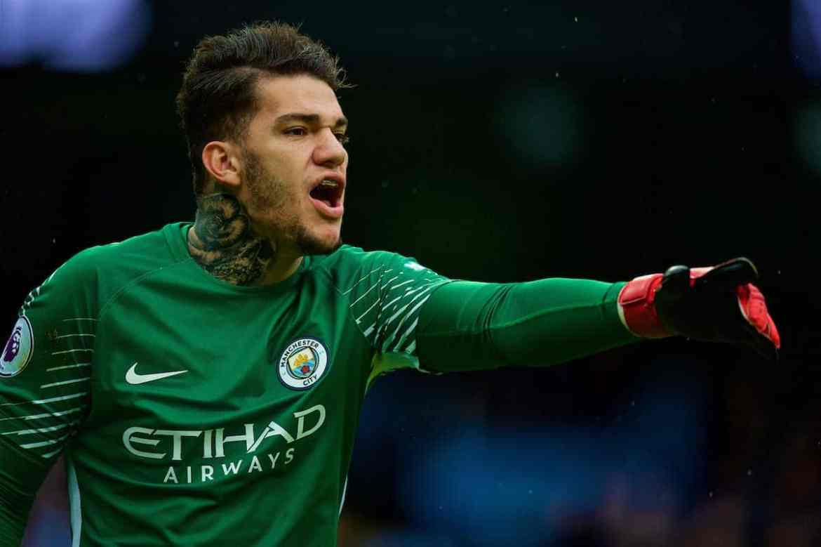 MANCHESTER, ENGLAND - Saturday, October 21, 2017: Manchester City's goalkeeper Ederson Moraes reacts during the FA Premier League match between Manchester City and Burnley at the City of Manchester Stadium. (Pic by Peter Powell/Propaganda)