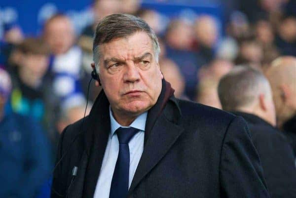 LIVERPOOL, ENGLAND - Saturday, December 23, 2017: Everton's manager Sam Allardyce during the FA Premier League match between Everton and Chelsea at Goodison Park. (Pic by David Rawcliffe/Propaganda)