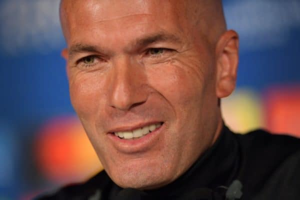 KIEV, UKRAINE - Friday, May 25, 2018: Real Madrid's head coach Zinedine Zidane during a pre-match press conference at the NSC Olimpiyskiy ahead of the UEFA Champions League Final match between Real Madrid CF and Liverpool FC. (Handout/UEFA via Propaganda)