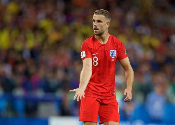 MOSCOW, RUSSIA - Tuesday, July 3, 2018: England's Jordan Henderson during the FIFA World Cup Russia 2018 Round of 16 match between Colombia and England at the Spartak Stadium. (Pic by David Rawcliffe/Propaganda)