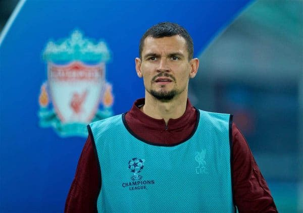 NAPLES, ITALY - Wednesday, October 3, 2018: Liverpool's substitute Dejan Lovren during the UEFA Champions League Group C match between S.S.C. Napoli and Liverpool FC at Stadio San Paolo. (Pic by David Rawcliffe/Propaganda)