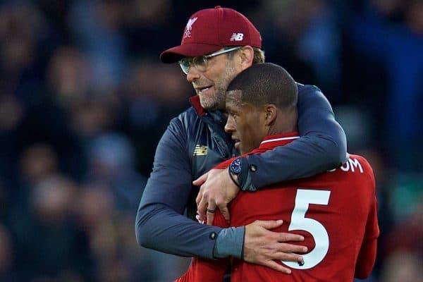 LIVERPOOL, ENGLAND - Sunday, October 7, 2018: Liverpool's manager J¸rgen Klopp embraces Georginio Wijnaldum after the FA Premier League match between Liverpool FC and Manchester City FC at Anfield. The game ended goal-less. (Pic by David Rawcliffe/Propaganda)