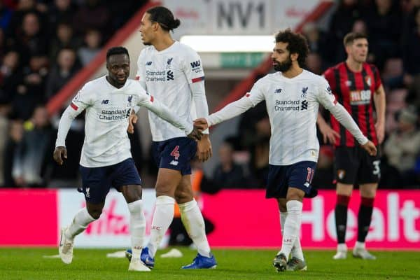 BOURNEMOUTH, ENGLAND - Saturday, December 7, 2019: Liverpool's Naby Keita (L) celebrates scoring the second goal with team-mate Mohamed Salah during the FA Premier League match between AFC Bournemouth and Liverpool FC at the Vitality Stadium. (Pic by David Rawcliffe/Propaganda)